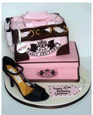 Designer Handbag, Shoe box and High heeled Shoe Cake