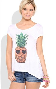Deb Shops short sleeve high low tee with pineapple and glitter glasses screen $9.99