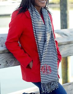 Personalized houndstooth scarf