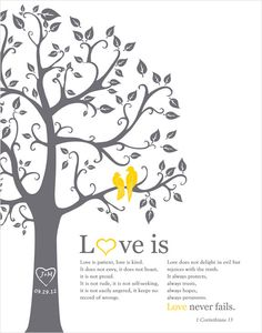 1 corinthians 13 Love is patient... Personalized Wedding Gift - 1st Paper Anniversary Gift - Love birds in the tree, wedding tree 11x14. $26.00, via Etsy.