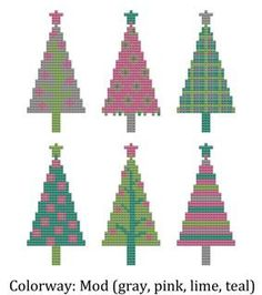 Cross Stitch Pattern Christmas Trees in your choice of 4 color combinations. Winter Holiday 2012. $5.00, via Etsy.