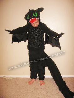 Toothless the Dragon DIY Halloween Costume: My son wanted a Toothless the Dragon DIY Halloween costume this year. So I bought a black sweatshirt and pants at a secondhand store. I decorated the hood