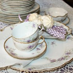 Antique French Haviland Limoges Purple Violet Floral cup and Saucer.#FrenchGardenHouse.com