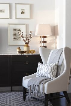 sarah richardson design: Wing back chair with ikea cabinets top with marble as entertainment unit, gorgeous!