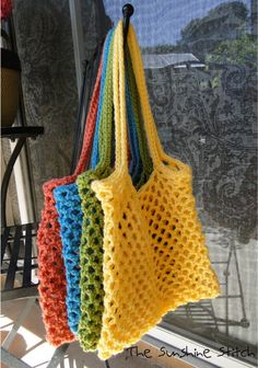 "Crocheted tote; This might work for your ""shell collecting"" bag made from plastic bags."