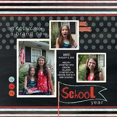 My Digital Studio scrapbook page - School theme