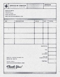 Invoice - by David M. Smith