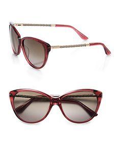 Tod's Feminine Soft Cat's-Eye Sunglasses in Havana Red