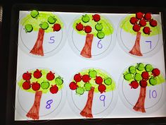 Apple tree counting plates and acrylic apples