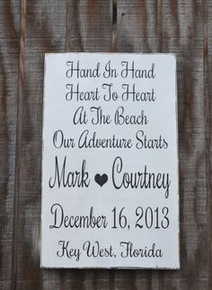 Wedding Sign - Beach Wedding - Nautical Wedding - Save The Date - Bridal Shower - Anniversary Gift - Custom Wedding Personalized Reception