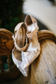 snakeskin wedding heels, photo by Awake Photography http://ruffledblog.com/one-world-theatre-wedding #weddingshoes #shoes