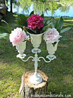 I took an old candelabra and glued ceiling fan shades to it.  Now it's my favorite planter/vase!   redheadcandecorate.com #peonies #candelabra #planter #vase