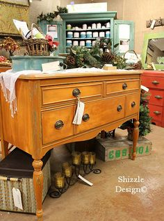 Hand painted buffet layered with Ce Caldwell's Mesa Sunset over Santa Fe Turquoise by Shizzle Design in West Michigan  SOLD http://shizzle-design.com/2012/12/holy-cow-is-christmas-sneaking-up-on-us.html