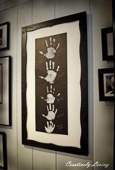 family wall art, gift, frame, galleri, famili, kid art, gallery walls, handprint art, hand prints
