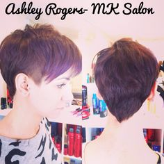 Short / pixie hair cut with purple ombre by Ashley Rogers