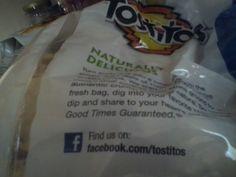 #Tostitos bag asks you to find them on #Facebook