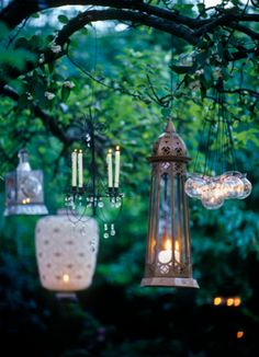 This is a great idea- mix and match hanging lanterns to create this beautiful look. Partner them with my flameless battery operated tea light candles and it's smooth sailing the whole night through. http://www.candlesrecharge.com.au