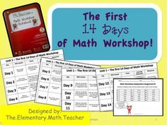 The First 14 Days of Math Workshop-Unit Lesson Plans! from Elementary Math Teacher on TeachersNotebook.com -  (150 pages)  - In this 150+ page document, you will be introduced to how to set up an effective math workshop in your classroom. Students will learn what math workshop looks and sounds like, how your room is organized, how to set up a math notebook, how to be a strong m