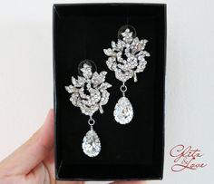 Wedding Bridal Chandelier Earrings, Big Rose, Swarovski Crystal, Long, Stunning, Brides, by GlitzAndLove, $46.00