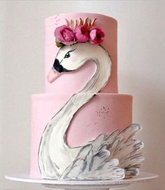 Swan 2 tiered cake