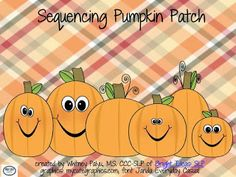 Bright Ideas Speech-Language Pathology: Sequencing Pumpkin Patch Freebie! Pinned by SOS Inc. Resources. Follow all our boards at pinterest.com/sostherapy for therapy resources.