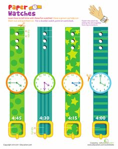Worksheets: Practice Telling Time with Play Watches: 4 O'Clock