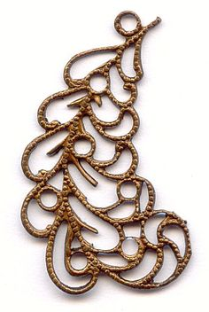 59129  Vintage Feather Filigree  We absolutely love this piece!  This vintage brass filigree has the look of a swirling feather.  There are circles throughout that you could have beads dropping from.  Use this as a focal or make a dramatic pair of earrings.