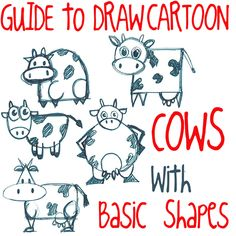 Step guide to drawing cartoon cows with basic shapes Big Guide to Drawing Cartoon Cows with Basic Shapes for Kids