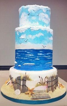 Beach themed cake by Fine Arts Bakery