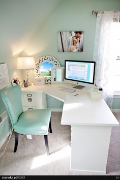 wall colors, chair, office spaces, corner desk, filing cabinets, tiffany blue, mint, home offices, workspac