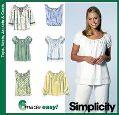 Simplicity 8741 from Simplicity patterns is a peasant-style blouse sewing pattern--just thrifted this one. Want to make E and C with lace inserts.