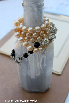 Vintage Glass Pearl Rhinestone and Onyx Wrap Style by simplymeart, $56.00