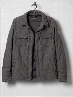 herringbone tweed puff coat / scotch & soda