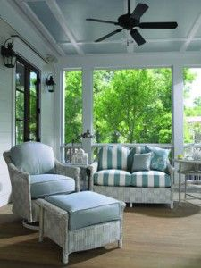 screen porches, pisc, outdoor living, blue porch, outdoor retreat, outdoor live, painted ceilings, decor idea, screened porches