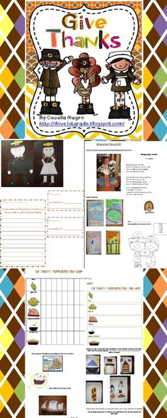 This incredible 55 page unit is perfect for grades K-3. It includes suggested literature, Mayflower Circle Map, individual book, Pilgrim guided reading book, adorable Pilgrim boy and girl craft, graph activity with tally marks and graph analysis, In November class book, Pilgrim class book, recording mental images sheet, 6 poems/songs, turkey with long legs craft to go with Albuquerque Turkey, cloze activity, Addition math coloring sheet with color key and a turkey glyph.