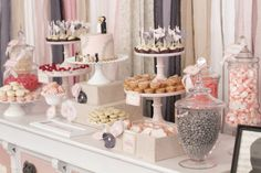 Vintage candy and dessert station by Sweets Indeed, furniture and prop pieces by Found Vintage Rentals, Photography by Garrett Davis Photography