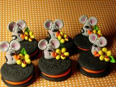 Halloween Oreos (in polymer clay) with Mice by Helen Terlalis Dorn