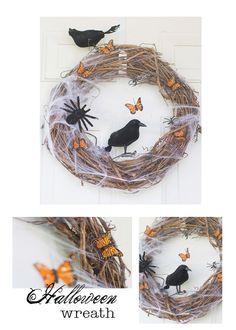 DIY Halloween Wreath holiday, craft, diy halloween, butterflies, wreath idea, aveng parti, halloween wreaths, christma parti, avenger party