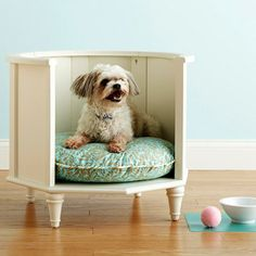 Pamper your pooch by building a bed made from an unused side table. Remove the top and doors, then cut away any support pieces. After sanding rough edges, apply a fresh coat of paint that will complement your space. Finish by placing a fluffy dog pillow inside.  (I think cats would like it too.)
