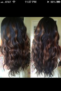 Dark brown and caramel highlights perfect for winter / fall time