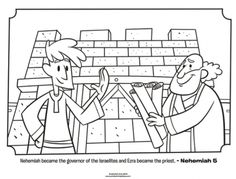 Kids coloring page from What's in the Bible? featuring Ezra and Nehemiah from Nehemiah 5. Volume 7: Exile and Return!