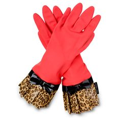 Pretty sure cleaning dishes with these on would be more fun! #pinparty kitchen glove, red, fashion kitchen, anim print, leopards, animal prints, gloves, leopard prints, black bow