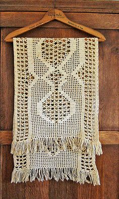 Antique crocheted table runner