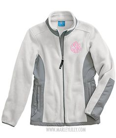 Monogrammed Southern Fleece Coat - White & Grey