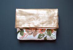 ANTIQUE ROSE Gold Leather Clutch. Floral Cotton Clutch. Leather Envelope Clutch. GiftShopBrooklyn via Etsy.