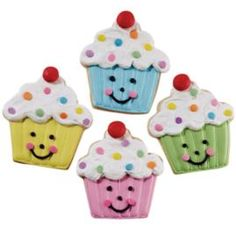 Cupcakes That Crunch! Cookies. Colorfully ice cupcake-shaped cookies cut with our 4-Pc. Party Cookie Cutter Set; finish with confetti sprinkles and piped icing faces.