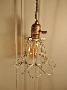 Vintage Industrial Cage Light  Machine Age Minimalist by DWVintage, $58.99