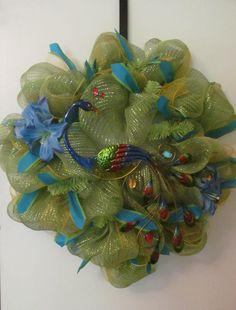 Peacock Deco Mesh Wreath    Handmade by Doris2618 on Etsy, $30.00