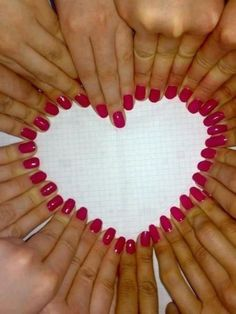 Bride and her bridesmaids hands ... could add the date of the wedding in the center of the heart?