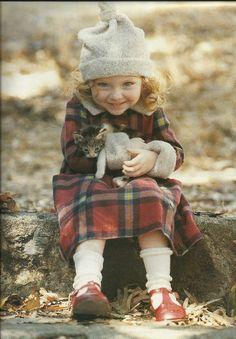 So sweet magazine covers, little girls, cat, kitten, red shoes, children, sweet girls, friend, kid